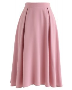Side Zip Pleated A-Line Midi Skirt in Pink