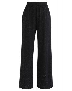 Sparkly Wide-Leg Full-Length Pants in Black