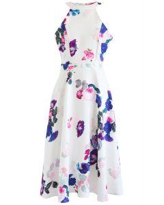 Baroque Rose Print Halter Neck Dress