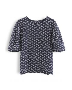 Puff Sleeves Eyelet Floral Embroidered Top in Navy