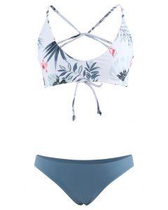 Leaf Print Open Back Bikini Set in Blue