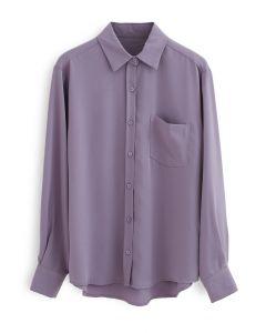Basic Softness Hi-Lo Shirt in Purple