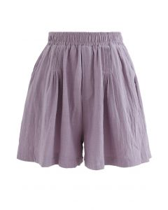 Pintuck Front Pockets Cotton Shorts in Purple