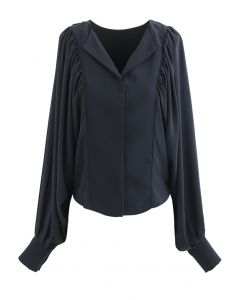 Batwing Puff Sleeves Crop Shirt in Navy