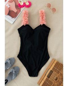 3D Floral Straps Scoop Back Swimsuit in Black