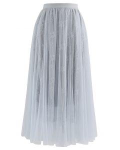 Sunflower Lace Mesh Tulle Midi Skirt in Dusty Blue