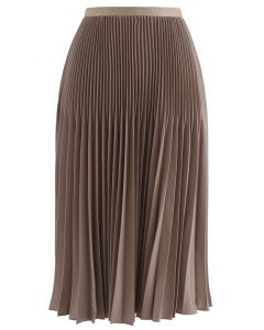 Solid Color Pleated A-Line Midi Skirt in Taupe
