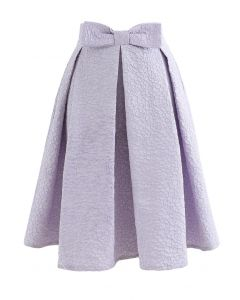 Bowknot Waist Full Floral Jacquard Pleated Skirt in Lilac