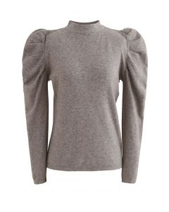 Mock Neck Bubble Sleeves Knit Top in Taupe