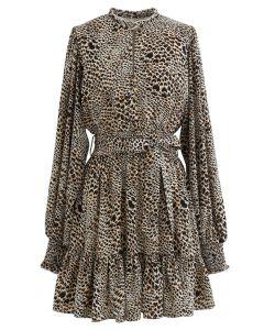 Buttoned Leopard Print Puff Sleeves Ruffle Dress