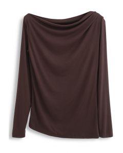 Drape Neck Long Sleeves Top in Brown