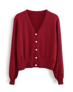 V-Neck Button Down Ribbed Knit Cardigan in Red