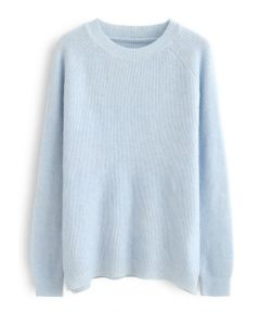 Basic Soft Touch Oversized Knit Sweater in Blue