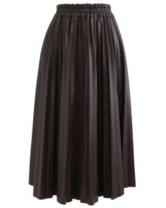 Faux Leather Pleated A-Line Midi Skirt in Brown