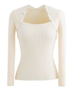 Buttons Decorated Square Neck Knit Top in Cream