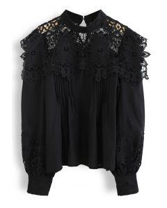 Sunflower Crochet Inserted Smock Top in Black