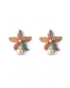Starfish Earrings with Pearl Decor