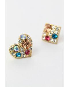 Diamond Heart Square Earrings Set