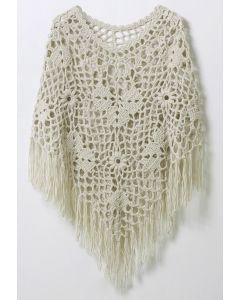 Delicate Hand-knit Fringe Cape in Off-White