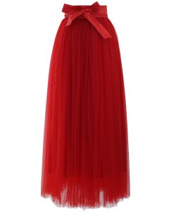 Amore Maxi Tulle Prom Skirt in Red