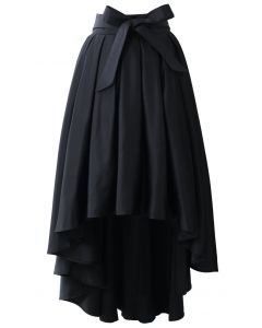 Bowknot Asymmetric Waterfall Skirt in Black