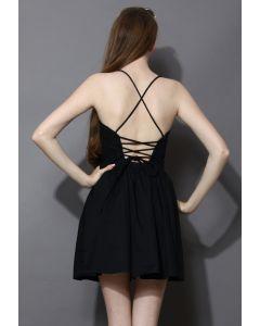 Revitalized Black Adjustable Tie Back Dress