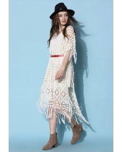 Glamorous Boho Fringe Hand-knit Cape