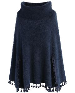Winter Tale Knitted Cape in Navy