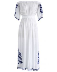 Boho Nymph Off-shoulder Maxi Dress in White