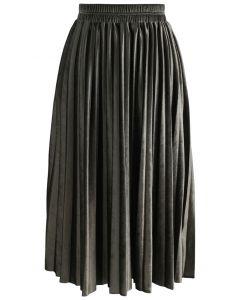Inviting Sheen Velvet Pleated Skirt in Olive