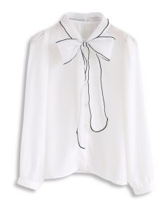 Lithe Bowknot Chiffon Top in White