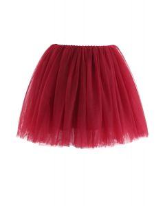 Amore Mesh Tulle Skirt in Wine For Kids