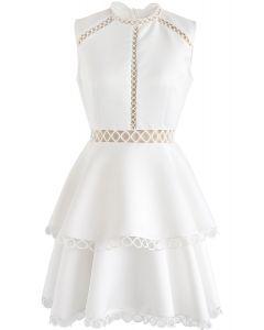 Show Your Elegance Eyelet Sleeveless Dress in White
