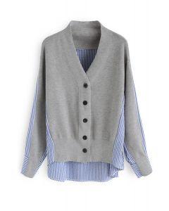 Magic Combination Stripes Knit Cardigan in Grey