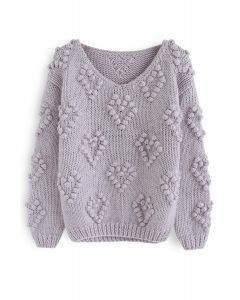 Knit Your Love V-Neck Sweater in Lavender
