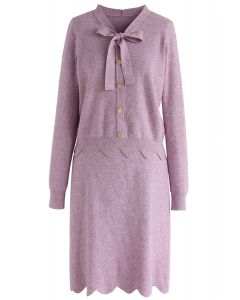 Passing Dreams Knit Top and Skirt Set in Lilac