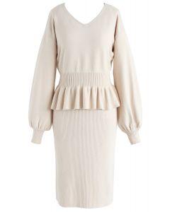 Surrounding Sweetness Knit Twinset Dress in Cream