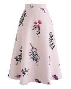 Floral Motif A-Line Skirt