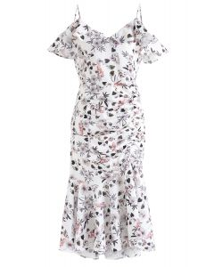 Cocktails Night Floral Printed Bodycon Dress in White