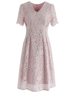 My Kind of Love Lace Midi Dress in Pink
