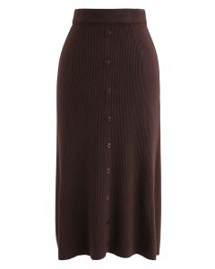 Button Front Trim Ribbed Knit Midi Skirt in Caramel