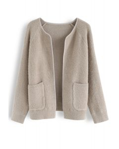 Pockets Open Front Cardigan in Tan