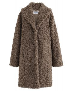 Feeling of Warmth Faux Fur Longline Coat in Brown