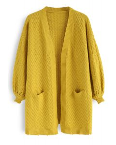 Puff Sleeves Cable Knit Cardigan in Mustard