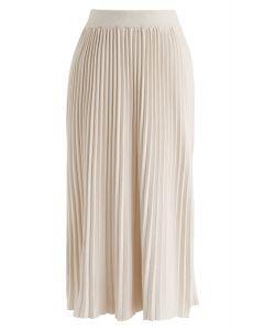 Graceful Bearing Pleated Knit Midi Skirt in Cream