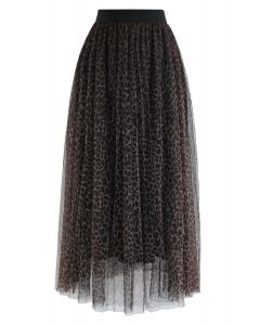Leopard Printed Double-Layered Mesh Tulle Pleated Skirt