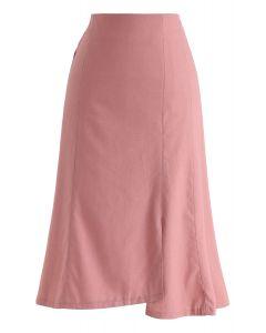 Asymmetric Hem Pencil Skirt in Pink