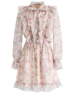 Floral Watercolor Bowknot Ruffle Dress