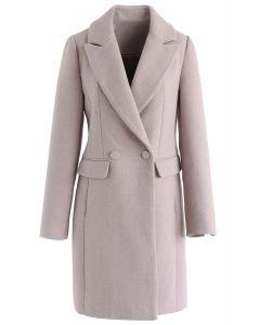Front Pockets Wool-Blended Longline Blazer in Pink