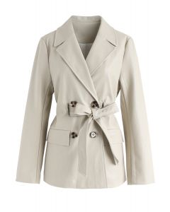 Double-Breasted Faux Leather Blazer in Cream
